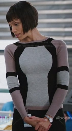 Camille's colorblock sweater on Bones