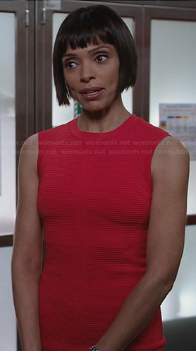 Camille's red ribbed dress on Bones