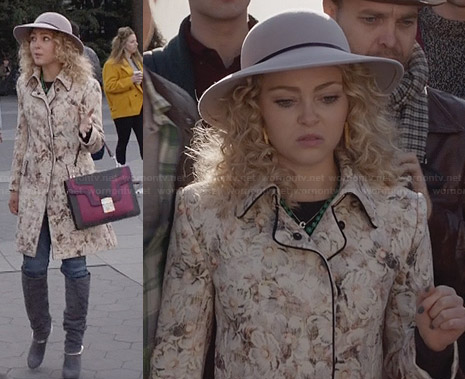 Carrie's cream floral coat and hat on The Carrie Diaries