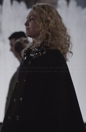 Carrie's black crystal studded cape on The Carrie Diaries