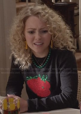 Carrie's black strawberry sweater on The Carrie Diaries