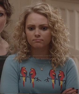 Carrie's blue parrot sweater on The Carrie Diaries