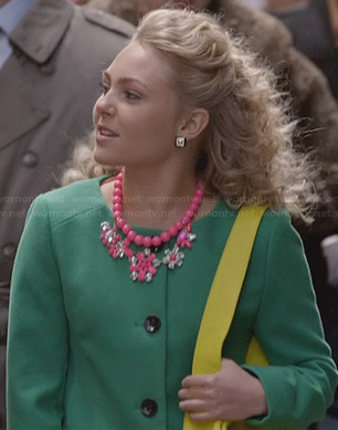Carrie's green collarless coat and pink crystal floral necklace on The Carrie Diaries