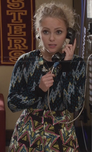 Carrie's lightning bolt / zig zag sweater on The Carrie Diaries