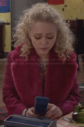 Carrie's pink fur collar coat on The Carrie Diaries