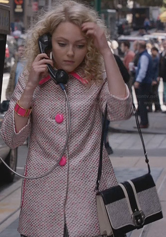 Carrie's pink tweed coat with hot pink buttons on The Carrie Diaries