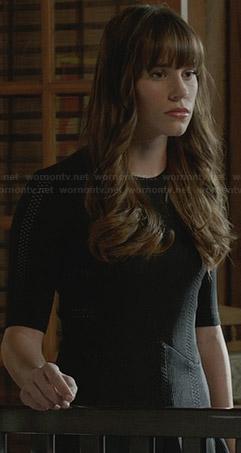 Charlotte's black half-sleeve fit and flare dress on Revenge