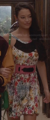 Donna's floral mesh inset dress on The Carrie Diaries