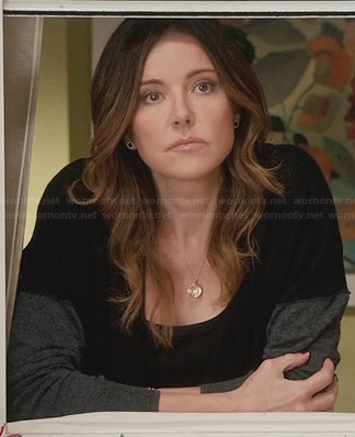 Ellie's black and grey safety pin cardigan on Cougar Town