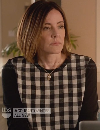 Ellie's black and white gingham check sweater on Cougar Town