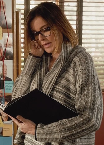 Ellie's grey striped leather trim cowl neck sweater on Cougar Town