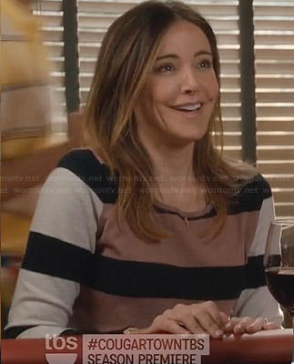 Ellie's colorblock and striped sweater on Cougar Town