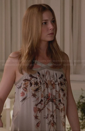 Emily's bird print maxi dress on Revenge