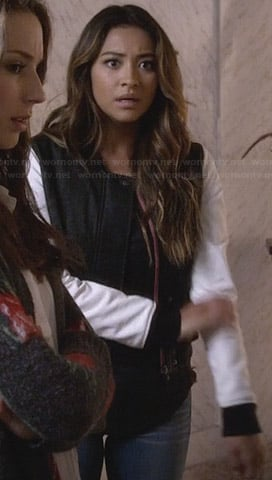 Emily's black and white bomber jacket on Pretty Little Liars