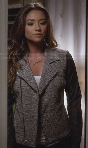 Emily's grey moto jacket with leather sleeves on Pretty Little Liars
