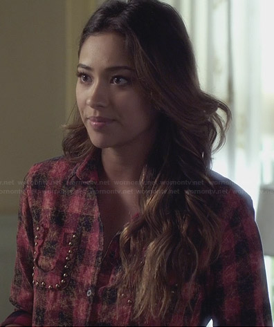 Emily's red checked shirt with studded pockets on Pretty Little Liars
