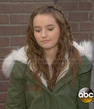 Eve's green jacket with white fur trimmed hood on Last Man Standing