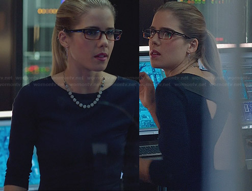 Felicity's dress with leather cross back on Arrow