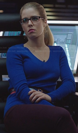 Felicity's cobalt blue sweater on Arrow