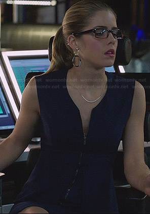 Felicity's blue zip front dress on Arrow