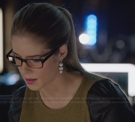 Felicity's knitted and leather peplum top on Arrow