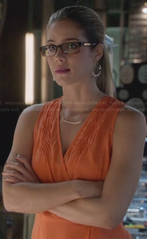 Felicity's orange wrap dress on Arrow