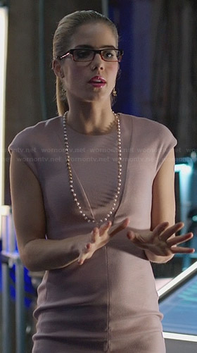 Felicity's soft purple cap sleeve dress on Arrow