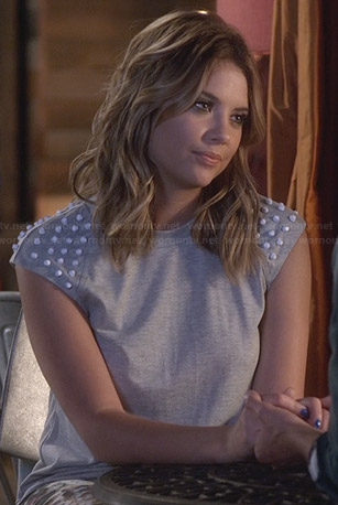 Hanna's grey top with white studs on PLL