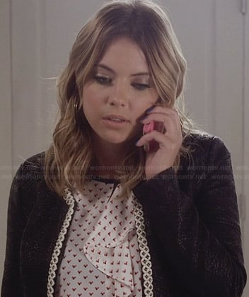 Hanna's heart print ruffle top and black jacket on PLL