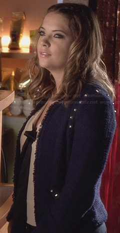 Hanna's navy tweed studded jacket on PLL