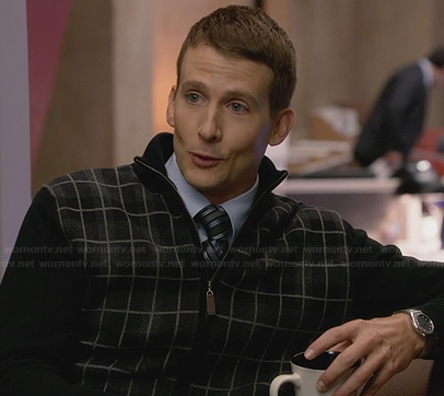 JC's black plaid zip front sweater on House of Lies