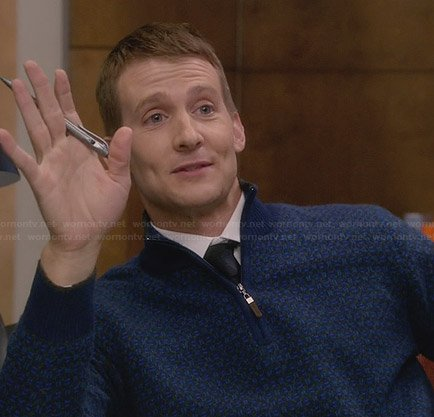 JC's blue patterned zip neck sweater on House of Lies