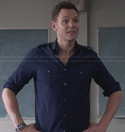 Jeff's navy blue button front shirt on Community