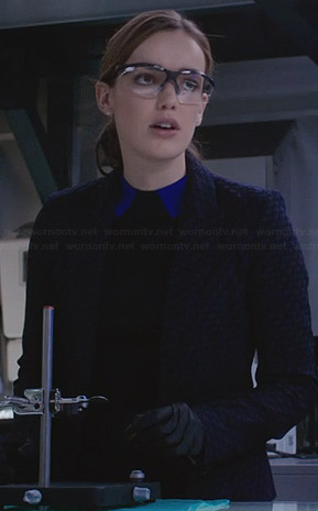 Jemma's black sweater with blue faux collar and printed blazer on Agents Of SHIELD