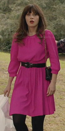 Jess's hot pink birthday dress on New Girl