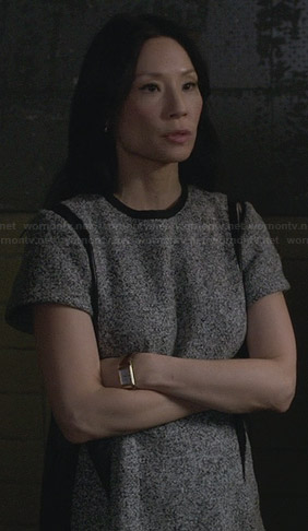 Joan's grey tweed dress with leather on Elementary