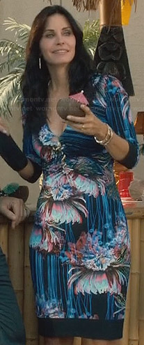 Laurie's black mirrored floral print dress on Cougar Town