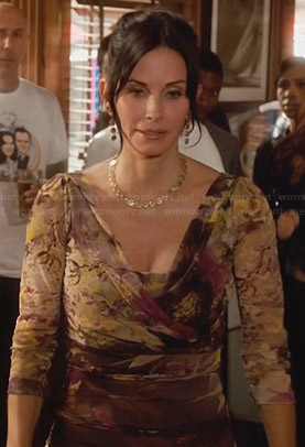 Jules's floral surplice front dress on Cougar Town