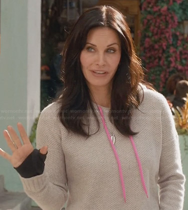 Jules's grey waffle knit hoodie with pink cord on Cougar Town