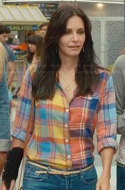 Jules's orange and blue plaid shirt on Cougar Town