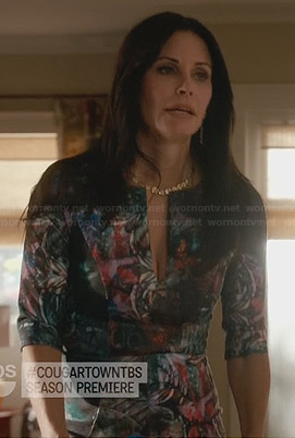 Jules's printed split-neck dress on Cougar Town