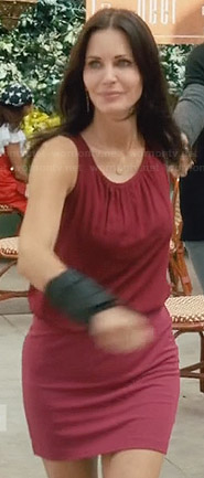Jules's red sleeveless blouson dress on Cougar Town