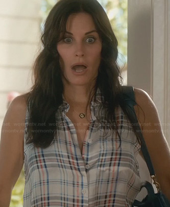 Jules's white sleeveless plaid button front shirt on Cougar Town