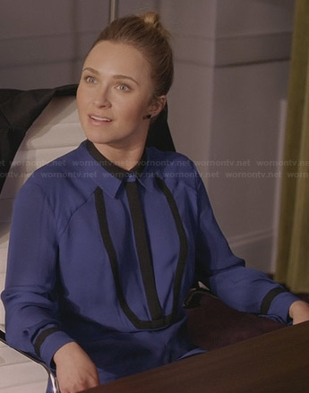 Juliette's blue and black bib shirt on Nashville