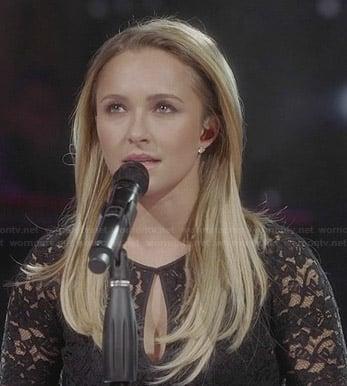 Juliette's black lace keyhole top on Nashville
