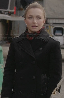 Juliette's black leather trimmed peacoat on Nashville
