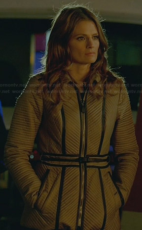 Beckett's ribbed leather trim jacket on Castle