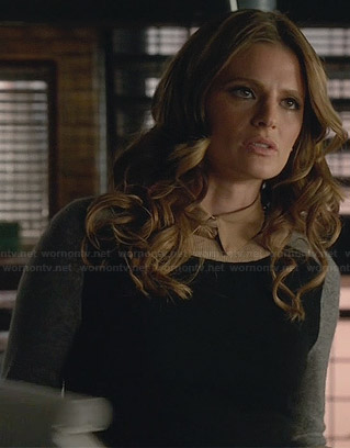 Kate's black and grey color block sweater on Castle