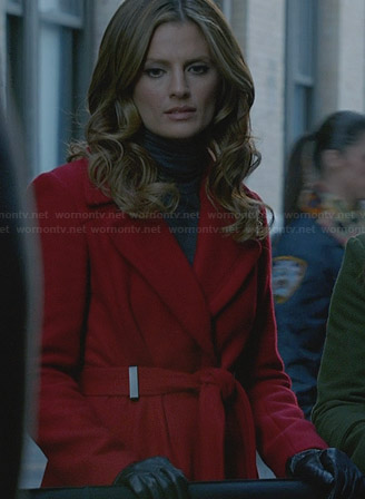 Beckett's red belted coat on Castle