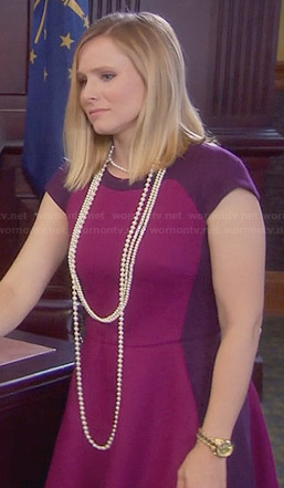 Kristen Bell's purple and pink panelled dress on Parks & Rec